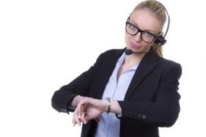 call center lady with watch